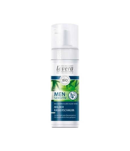 Men Sensitiv łagodna pianka do golenia z wyciągiem z bio-bambusa i bio-aloesu - Lavera 150 ml