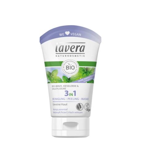 3w1 - żel, peeling, maska - z bio-miętą, cynkiem i kwasem salicylowym - Lavera 125 ml
