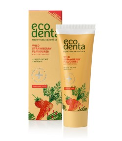 Pasta do zębów dla dzieci o zapachu poziomki z ekstraktem marchwi i Kalidentem - Ecodenta 75 ml