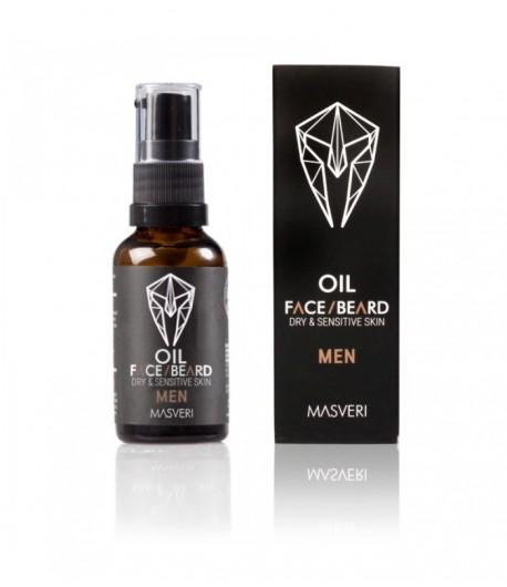 Olejek twarzy i brody do suchej i wrażliwej skóry Men - Masveri 30 ml