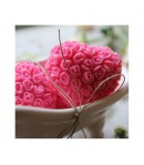 Mydło glicerynowe - Serce w różyczki - różowe - LaQ 45 g
