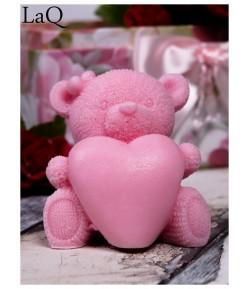 Mydło glicerynowe - Duży Miś z sercem - różowy - LaQ 120 g