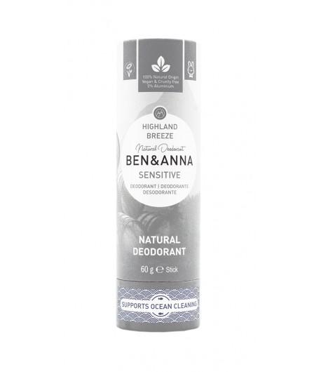 HIGHLAND BREEZE SENSITIVE Naturalny dezodorant bez sody - sztyft kartonowy - BEN&ANNA 60g