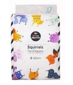 Pieluszki jednorazowe rozmiar 2 (4-8 kg) - Squirrels 62 szt.