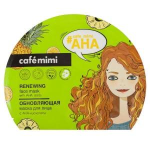 Regenerująca Maseczka do twarzy w płachcie z kwasami AHA - CAFE MIMI 22g